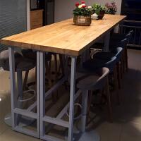 实木吧台桌 简约酒吧靠墙吧台北欧甜品店咖啡厅长条桌家用高脚桌 300*40*105高 板厚5公分