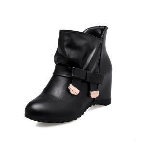 ELEISE美国艾蕾莎新品057-16DX066韩版超纤皮内增高女士短靴