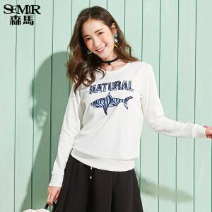 森马长袖时尚T恤女休闲圆领套头字母印花长袖卫衣打底韩版潮流