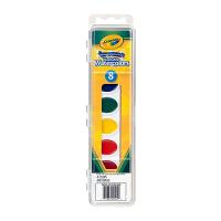 保税区发货 Crayola绘儿乐 8色幼儿童绘画固体水彩颜料可水洗带画刷  3岁以上 海外购
