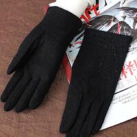 短保暖薄款黑色羊毛手套 女秋冬季保暖羊毛羊�q手套