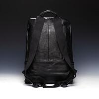 潮流欧美男包韩版双肩包男士真皮背包户外休闲书包旅行包 黑色 经典款布肩带