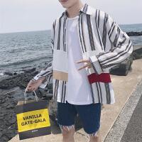新款秋装衬衫男长袖青少年韩版竖纹拼接个性文艺衬衣