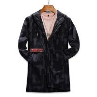 男士外套春秋新款韩版潮流帅气中长款风衣男装薄款休闲夹克衣服潮 黑色