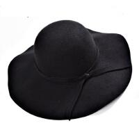 欧美风毛呢大檐帽 女士英伦复古礼帽 时尚优雅大沿礼帽 韩版潮圆顶波浪边遮阳帽子女