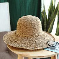 韩版可折叠遮阳帽沙滩出游凉帽子草帽女夏细密勾针大檐太阳帽