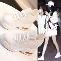 户外内增高小白鞋女韩版休闲百搭厚底显瘦网面运动老爹鞋