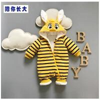 宝宝连体衣秋冬加厚0-3个月新生儿哈衣6-9个月百天婴儿卡通外出服