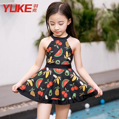 儿童泳衣韩版连体裙式中大童游泳衣女孩泳装