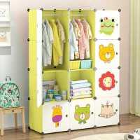 简易儿童衣柜卡通简约现代婴儿宝宝衣橱塑料布艺收纳小孩玩具柜子