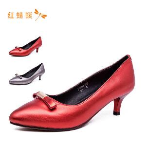 红蜻蜓尖头亮面蝴蝶结细跟中跟女单鞋
