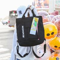 日韩简约帆布双肩包多用途包包字母印花时尚帆布背包女士旅行包包 黑色