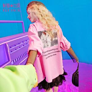 【每满150减50】妖精的口袋二分之一喜爱春秋装新款人像印花贴布绣短外套预售12.30发