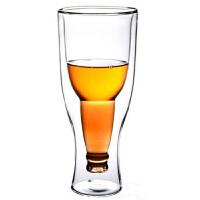 普润 啤酒杯玻璃 双层翻转倒置 350毫升