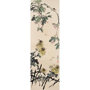 W2470 王雪涛《花卉草虫》(原装旧裱,满斑)