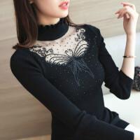 春季新款女装套头半高领蝴蝶蕾丝拼接镂空镶钻修身针织衫打底毛衣