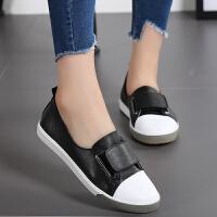 西瑞女士秋季新品魔术贴圆头小白鞋百搭韩版平底单鞋浅口套脚板鞋