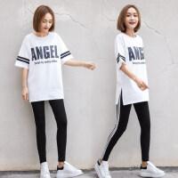 户外运动休闲运动套装女韩版宽松少女五分袖T恤两件套闺蜜装