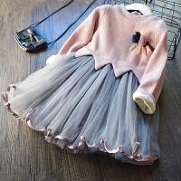 自留公主裙 2017冬�b新款�n版�W��L袖�B衣裙 加�q加厚打底裙子