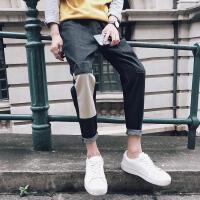 男士修身黑色牛仔裤不对称港风长裤休闲百搭学生哈伦裤子