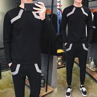 男士长袖T恤春季韩版休闲运动套装新款潮流帅气春装男装卫衣