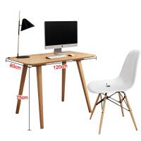 实木书桌简约台式电脑桌家用简易写字台笔记本小桌子北欧家具促销 含椅子