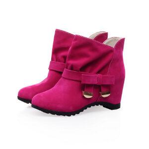 ELEISE美国艾蕾莎新品秋冬150-X-4韩版磨砂绒面内增高女士女靴短靴