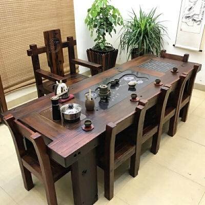 老船木茶桌椅组合新中式实木家具功夫泡茶桌茶台小茶几茶艺桌整装  整装 定制(订金)商品拍前请联系客服,部分配件单拍不发,谢谢。