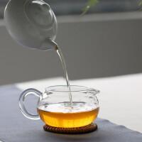红兔子 260ml苹果茶玻璃海分茶器功夫茶具耐热玻璃茶具苹果茶海圆形公道杯玻璃公道杯茶道功夫茶具