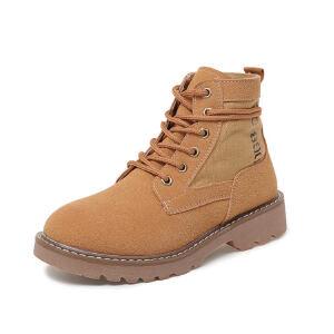 ELEISE美国艾蕾莎新品118-1871英伦磨砂绒面平底女士马丁靴