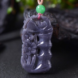 天然和田玉紫罗兰喜上眉梢吊坠双面镂空雕刻
