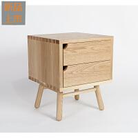 橡木整装创意抽屉简约比目鱼床头柜实木定制 整装