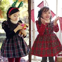 *儿童装女童加绒加厚公主裙子2018春冬装连衣裙