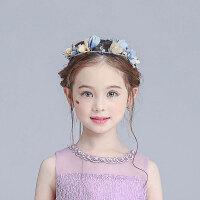花童头饰 韩版儿童六一表演花环女童公主发饰婚纱礼服配饰 蓝色