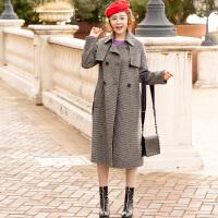 修身收腰双面呢子大衣女2018韩版秋冬新款时尚中长款毛呢外套