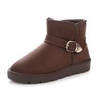 雪地靴女短筒冬季保暖加绒韩版短靴女学生平底棉鞋百搭女靴子