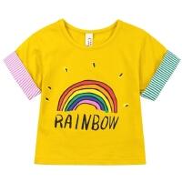 女童短袖T恤中大童彩虹体恤童装夏装上衣儿童半袖女