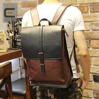 双肩包男韩版户外旅行背包男士背包大容量潮学生书包皮休闲新 图片色 全场满2件送手包