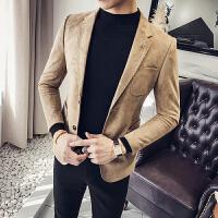 哲曼琪 男士西服青少年韩版修身小西装休闲麂皮绒西装外套男单西