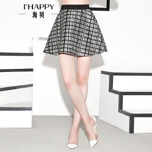 海贝秋款女装半身裙时尚字母高腰伞状裙摆短裙女