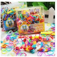 包邮 韩国彩虹编织工艺皮筋儿童DIY手工制作玩具女孩织造手镯手链手绳,好玩有趣,价格便宜,两用哦~可以编制成手链当做装
