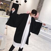 风衣男中长款韩版宽松外套秋季暗黑系男装个性阔袖开衫披肩披风