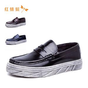 红蜻蜓圆头简约百搭时尚低跟休闲男单鞋