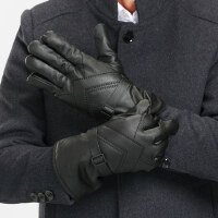 新款男士爸爸手套 户外防水保暖骑行真皮手套 中老年人骑车电动车防风手套