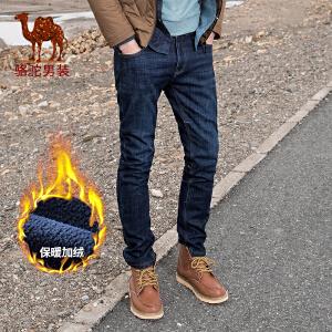 骆驼男装 秋冬新款加绒牛仔裤男宽松直筒商务休闲男裤大码长裤