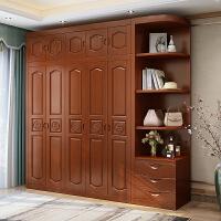 实木衣柜现代简约3门4门5门6门中式橡木卧室组装经济型转角柜家具 6门 组装