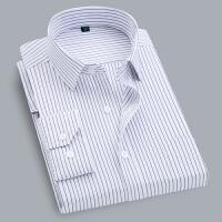 春季男士商务衬衫男条纹长袖职业工装免烫寸衫