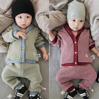 婴儿春秋套装开衫上衣长裤可开档0-1-2岁宝宝外出服儿童秋装外套