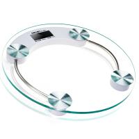 得力9028圆形LCD液晶显示电子健康秤/体重秤/人体秤 钢化玻璃