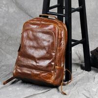 古造复古油蜡皮双肩包男真皮背包头层牛皮书包休闲简约旅行电脑包